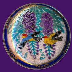 Very Large 19th C. Satsuma Pottery Colorful Birds In Wisteria