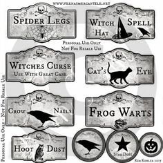 Halloween Primitive Apothecary labels Bottle Jar Pantry Can Label Hang Tags Witch Crow Instant Digit Halloween Apothecary Labels, Halloween Bottles, Apothecary Bottles, Halloween Pillows, Halloween Crafts, Halloween 2016, Halloween Ideas, Pillow Box, Book Projects