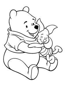 Winnie The Pooh Care With Piglet Coloring Page