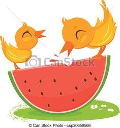 Clip Art Vector of Birds eating watermelon - Two birds eating a ...