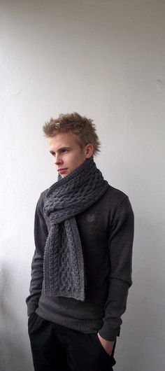 Dark Grey Hand Knitted Men Long Scarf