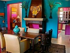 Bright walls- this is the color combo i am going with in the dining room - turquios purple and gold
