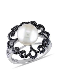 Women's Sterling Silver White Pearl, Black and White Diamond Ring