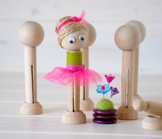 DIY Clothespin Doll 10 Wooden Dolls Wooden by CraftyWoolFelt