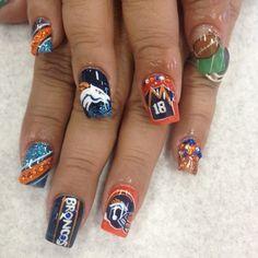 20 Denver Broncos Nail Art Ideas for Super Bowl 50 Denver Broncos Nails, Seahawks Nails, Football Nail Designs, Football Nail Art, Crazy Nail Designs, Gel Nail Art Designs, Fingernail Designs, Nails Design, Soccer Nails