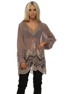 959f1f1649318 Taupe Luxe Lace Semi Sheer Long Tunic Top Long Tunic Tops, Kaftan, Taupe,