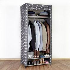 Elegant T Textil Kleiderschrank Sterne grau