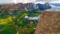 Trekker on the Sella Group mountain chain, Dolomites, South Tyrol, Italy (© SIME/eStock Photo)