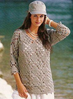TEJER GANCHILLO CROCHET: Elegante blusa para tejer paso a paso