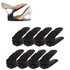 Nastaviteľný organizér na topánky, čierny, sada 50ks | Dekorácie do bytu Shoe Holders, Shoe Organizer, New Product, Happy Shopping, Shoe Rack, Home Kitchens, Storage Spaces, Organization, Modern