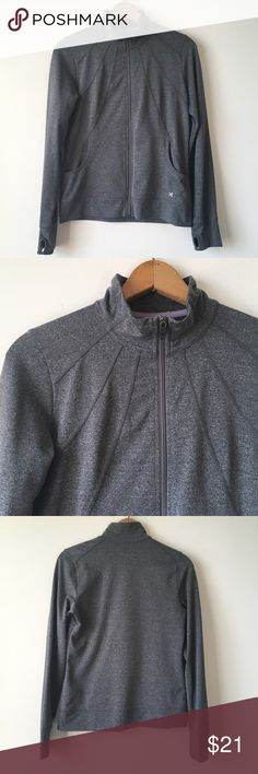 Heathered charcoal athletic zip-up Heathered charcoal grey zip-up jacket by Xersion, mid-weight fabric feels like lululemon. Perfect for running or just running errands. Mesh lined pockets and thumb holes! Well-loved, but no holes or discolorations or really any signs of wear. Size was printed inside and has worn off, I can provide measurements if needed.         Reasonable offers welcome.🎀 No lowballing, please.❌ No trades or non-posh transactions!🚫 Bundle & save!💰 Xersion Jackets…