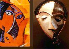 P. Picasso, particolare dè Les Demoiselles d'Avignon (1907) e maschera Pende, Congo, detta della Malattia