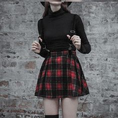 a35ea52c2ea 'Vicious' Red and Black Plaid Skirt With Pentagram Straps. Free shipping  worldwide baby
