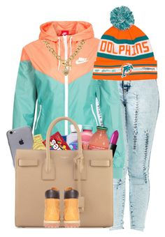 """Dolphins"" by prvncessbeautifulmee ❤ liked on Polyvore featuring NIKE, Juicy Couture, NARS Cosmetics, Versus, Mangosteen, Yves Saint Laurent and Timberland"