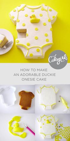 How To Make A Duckie Onesie Cake This cake is so easy and the perfect baby shower cake idea for a boy, girl or gender neutral baby shower! See the DIY tutorial and shop. The post How To Make A Duckie Onesie Cake appeared first on Welcome! Baby Shower Simple, Baby Shower Cakes Neutral, Idee Baby Shower, Baby Shower Cakes For Boys, Baby Shower Parties, Baby Boy Shower, Baby Shower Foods, Funny Baby Shower Cakes, Baby Shower Food Easy