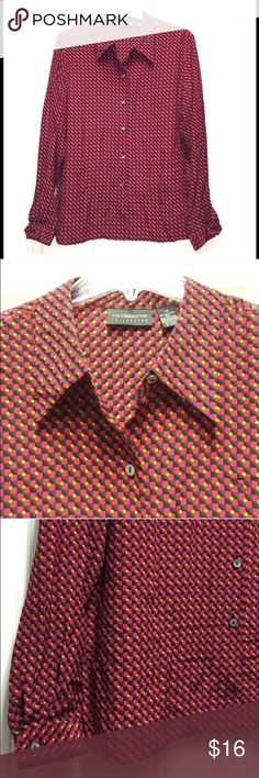 """🔴💯Silk Liz Claiborne Geometric Pattern Blouse🔴 Lovely Silk button-down blouse w/ fun geometric pattern! 🔺Colors Include: Red, Pink/Fuchsia, Yellow/Goldenrod, Black & Gray. 🔺Great for work or casual wear! Long sleeves. Soft, loose fit. Pearlized buttons. Size 14/Plus. 🔺Measurements: Length from shoulder: 24.5"""". Sleeves: 24.5"""". Bust 23"""" flat/46"""" full. Great condition! 💃Offers welcome & Bundling discounts available!💃 Liz Claiborne Tops Button Down Shirts"""