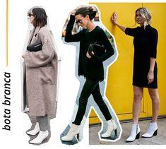 bota - branca - looks - como usar - frio | E para finalizar tudo isso, a bota mais trend da temporada! As botas brancas chegaram para ficar e arrematam até os outfits mais básicos.