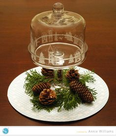 Silhouette glass etching for Christmas
