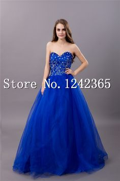 Free shipping 2014 blue ball gown plus size prom dresses blue designer prom dress custom made  US $112.36