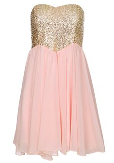 Oh, this blush pink and gold sparkly dress is just cute!