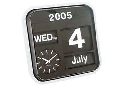 Karlsson Calendar Clock Big Flip, White Present Time