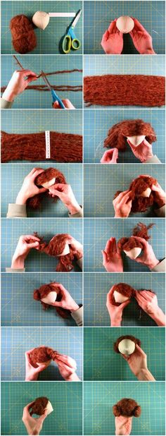 DIY Doll Hair — Although this is for a rag doll, it could be customized for BJD wigs. Doll Wigs, Doll Hair, Diy Dolls Hair, Doll Tutorial, Amigurumi Tutorial, Sewing Dolls, Waldorf Dolls, Soft Dolls, Doll Crafts