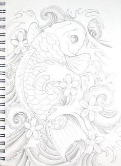 Koi tattoo b and w by bsguru.deviantart.com