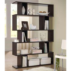 "Baxton Studio Goodwin Dark Brown Wood 5-Tier Open Shelf - 47.5"" x 70.38"" x 11.4"""