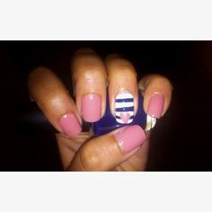 Experimenting with  nautical nail art