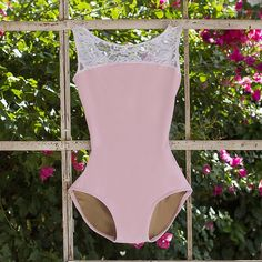 white lace leotard in soft pink lycra with open back from luckyleo dancewear Dance Outfits, Sport Outfits, Ballet Outfits, Cute Outfits, Dance Dresses, Pink Leotard, Lace Leotard, Ballet Costumes, Dance Costumes