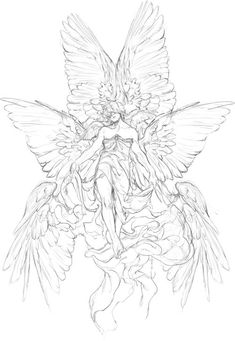 how to draw manga Fantasy Kunst, Anime Art Fantasy, Art And Illustration, Drawing Sketches, Art Drawings, Tattoo Design Drawings, Art Du Croquis, Arte Sketchbook, Angel Art