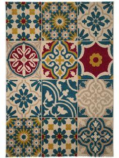 Tapis Patchwork-Mosaico Multicouleur 140x200 cm 60002864 by benuta color Multicouleur design Fleurs, Motifs en Relief, Ornamental, Vintage / Patchwork