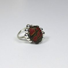 DWJ Natural Beauty Picasso Jasper Silver Wire Wrapped Ring Size 6-10