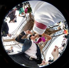 """Amazing Eiffel Tower shot with fisheye lens — from """"15 Jaw-Dropping Wedding Photos — plus Tips for Working with Your Photographer."""" http://blogs.dexknows.com/"""