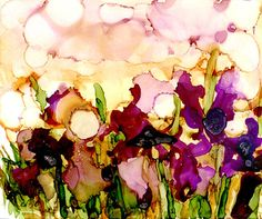 Iris Field in Secondaries  print of original alcohol ink