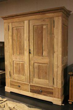 Teak linnenkast 2 deurs recycled teak - Teak wardrobe 2 doors reclaimed teak