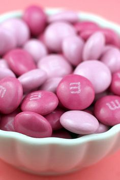 pink m & m's Had boxes of pink M for favors for Hope's baby shower luncheon #timelesstreasure