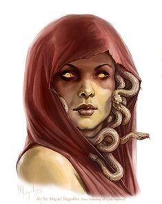 f Medusa w hood Portrait urban city undercity underdark - Pathfinder PFRPG DND D&D fantasy Medusa Kunst, Medusa Art, Medusa Gorgon, Medusa Tattoo, Character Portraits, Character Art, Character Design, Fantasy Creatures, Mythical Creatures