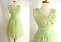 SALE was 133.00. Green Prom Dress. vintage 50s Lime Green and Yellow Shirred Chiffon Short Party Dress. Prom Dress. Homecoming Dress. 2 XS by wardrobetheglobe on Etsy