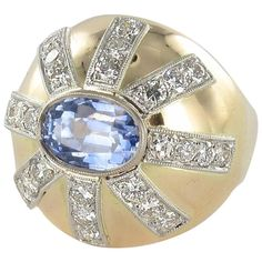 1950s Sapphire Diamond Gold Platinum Dome Ring  | See more rare vintage Dome Rings at https://www.1stdibs.com/jewelry/rings/dome-rings