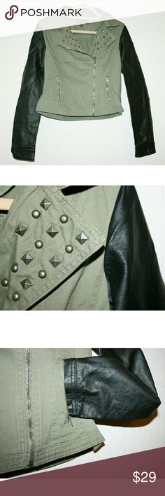 SALE ITEM NWOT Studded Twill/Vegan Leather Jacket This is a fabulous lightweight jacket! Black and olive go with everything, and the studded collar adds an edgy quality. I would wear it with a fitted hoodie underneath on chillier days since it doesn't have padding. Pewter colored hardware/studs. The twill body is 100% cotton, and the faux leather sleeves are 100% polyurethane with a 100% rayon lining. 17% ($5) OFF THIS WEEKEND ONLY! New Look Jackets & Coats