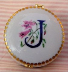 hand painted porcelain   hinged monogram box
