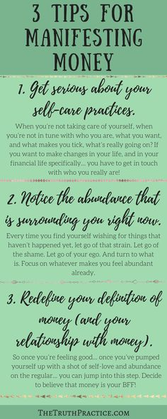 CLICK THE PIN FOR ALL 6 TIPS on how to use the law of attraction to manifest money! Read these 6 amazing tips and tools to help you bring abundance into your life. Go to TheTruthPractice.com to read about inspiration, authenticity, fulfillment, manifesting your dreams, getting rid of fear, living by intuition, self-love, self-care, words of wisdom, and yoga.