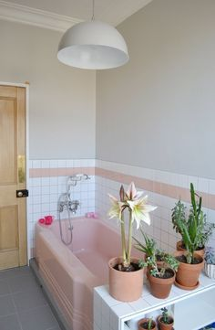 Here is an idea to make your pink bathroom tile feel more like it was part of your plan and not something you had to make-do with.