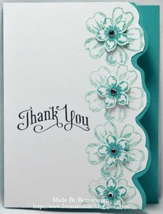 handmade card: Floral Thank You .... column of stamped flowers fussy cut on the outer edge to make a ragged edge closing ... great look! ... Stampin'Up!