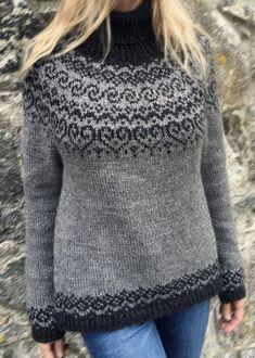 Fair Isle Knitting Patterns, Sweater Knitting Patterns, Knit Patterns, Icelandic Sweaters, Work Tops, Knitting For Beginners, Long Sleeve Sweater, Big Sweater, Wool Blend
