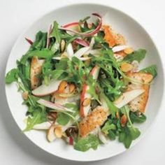Toasted almonds and sliced apples speckle a simple salad of tilapia and arugula. Recipe from Real Simple, found at www.edamam.com