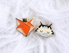Set of two lapel pins fox + cat - fox enamel pins - cat enamel pins - fox Badges - enamel pins gold metal - Valentin's day gift by LencrerieMarine on Etsy https://www.etsy.com/ca/listing/472162262/set-of-two-lapel-pins-fox-cat-fox-enamel