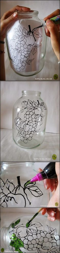 , Diy Projects: DIY Glass Art Probably with a different picture though is creative. , Diy Projects: DIY Glass Art Probably with a different picture though is creative inspiration for us. Get more photo about home decor related with by l. Glass Bottle Crafts, Bottle Art, Glass Bottles, Wine Bottles, Painted Bottles, Wine Corks, Mason Jar Crafts, Mason Jars, Diy And Crafts