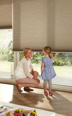 Duette® honeycomb shades with LiteRise® cordless lifting system, the ultimate in child safe blinds with no loose, hanging cords. Sliding Door Shades, Sliding Door Blinds, Blinds For Windows, Honeycomb Blinds, Honeycomb Shades, Cellular Blinds, Cellular Shades, Window Coverings, Window Treatments